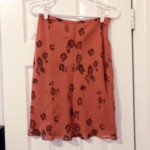 Silk Watercolor Floral Mauve Bias Cut Skirt